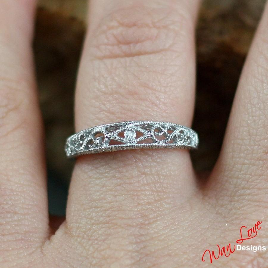 Diamond Filigree Milgrain Wedding Band Engagement Ring 14K Inside Latest Diamond Swirl Anniversary Bands In White Gold (View 12 of 25)