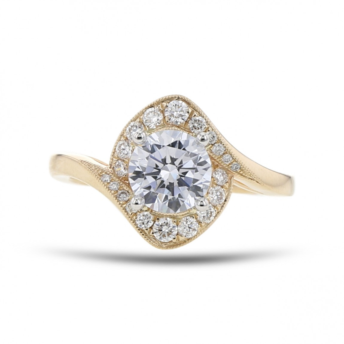 Diamond Halo Engagement Ring Setting, Bypass Milgrain, 14K Yellow Gold,  .25Tdw Within 2020 Diamond Accent Vintage Style Anniversary Bands In White Gold (Gallery 20 of 25)