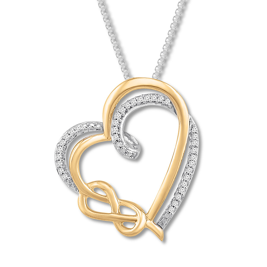 Diamond Heart/knot Necklace 1/10 Ct Tw Sterling Silver/10k Gold Pertaining To 2020 Shimmering Knot Pendant Necklaces (View 15 of 25)