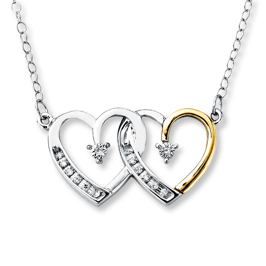Diamond Heart Necklace 1/15 Ct Tw Sterling Silver/10K Gold Regarding Most Popular Interlocked Hearts Locket Element Necklaces (Gallery 6 of 25)