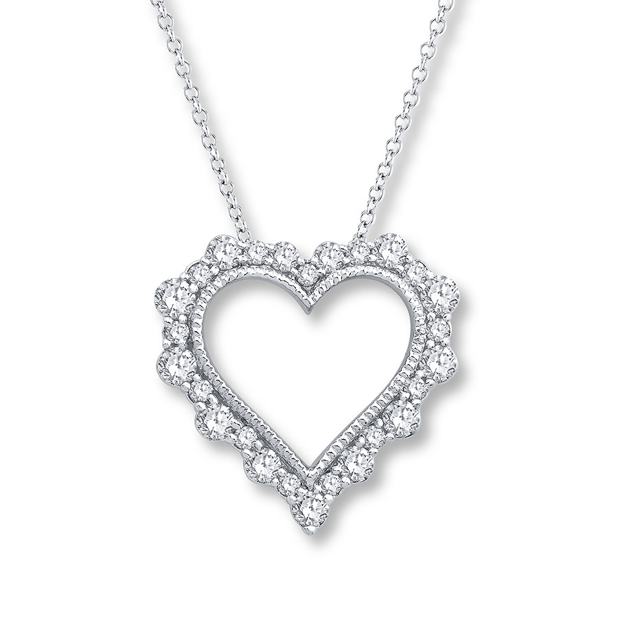 Diamond Heart Necklace 1/3 Ct Tw Round 14K White Gold In Most Recently Released Heart & Love You More Round Pendant Necklaces (Gallery 25 of 25)
