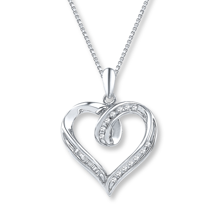 Diamond Heart Necklace 1/8 Ct Tw Baguette/round Sterling Silver Throughout Most Popular Heart & Love You More Round Pendant Necklaces (View 8 of 25)