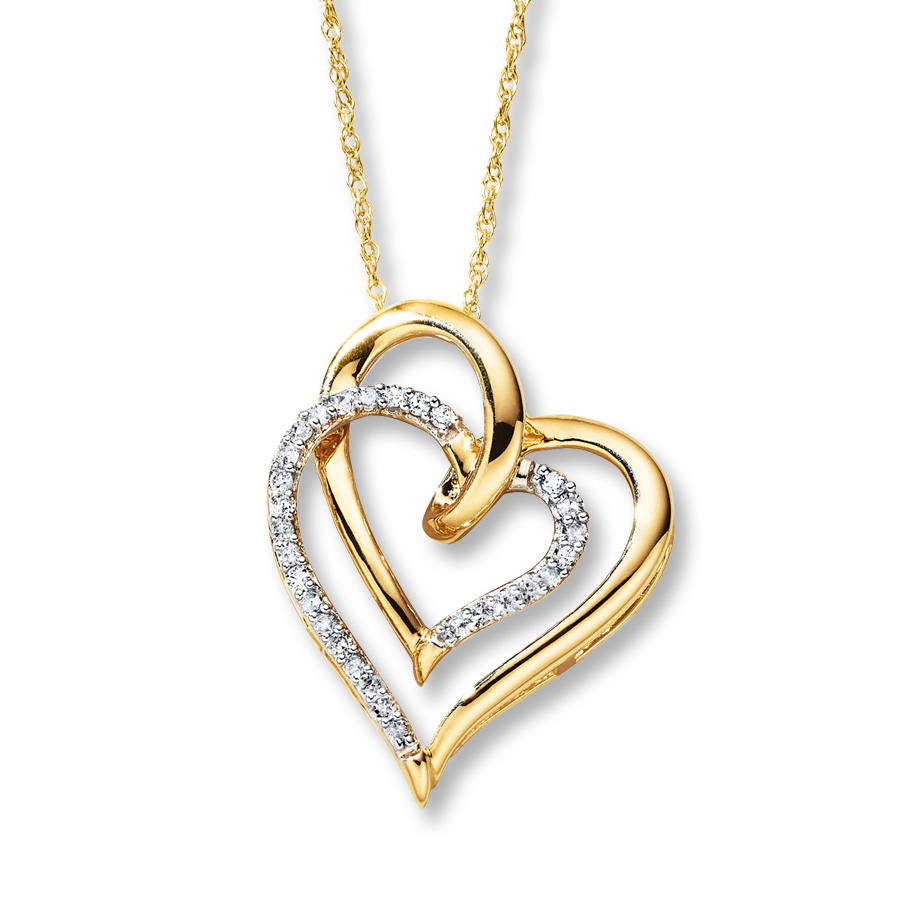 Diamond Heart Necklace 1/8 Ct Tw Round Cut 10k Yellow Gold Within Most Current Heart & Love You More Round Pendant Necklaces (View 12 of 25)