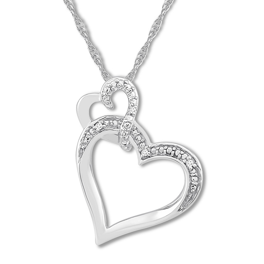 Diamond Heart Necklace Sterling Silver Inside Most Recent Interlocked Hearts Locket Element Necklaces (View 6 of 25)