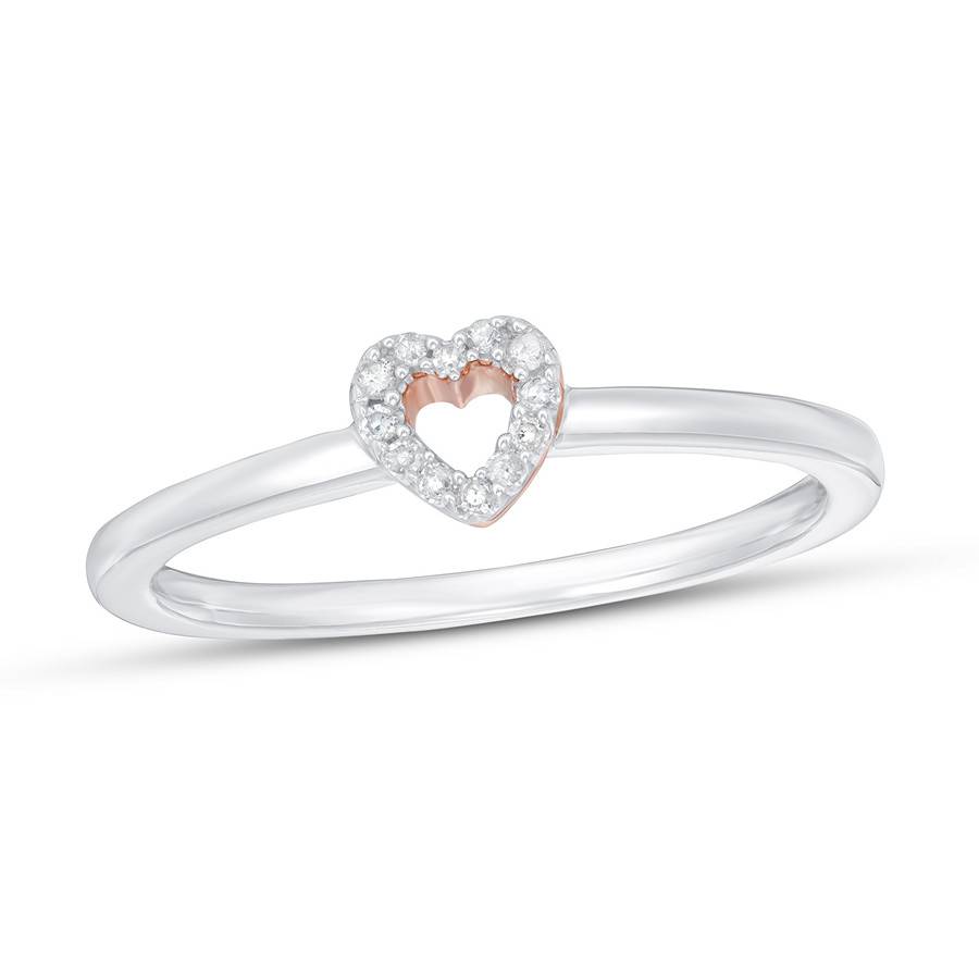 Diamond Heart Ring 1/20 Ct Tw 14k Two Tone Gold Intended For Recent Two Sparkling Hearts Rings (View 13 of 25)