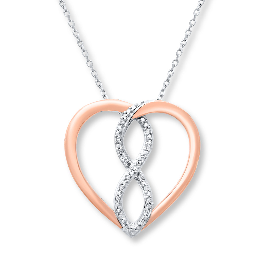 Diamond Infinity Necklace Sterling Silver/10k Rose Gold Pertaining To Most Popular Sparkling Infinity Locket Element Necklaces (View 2 of 25)