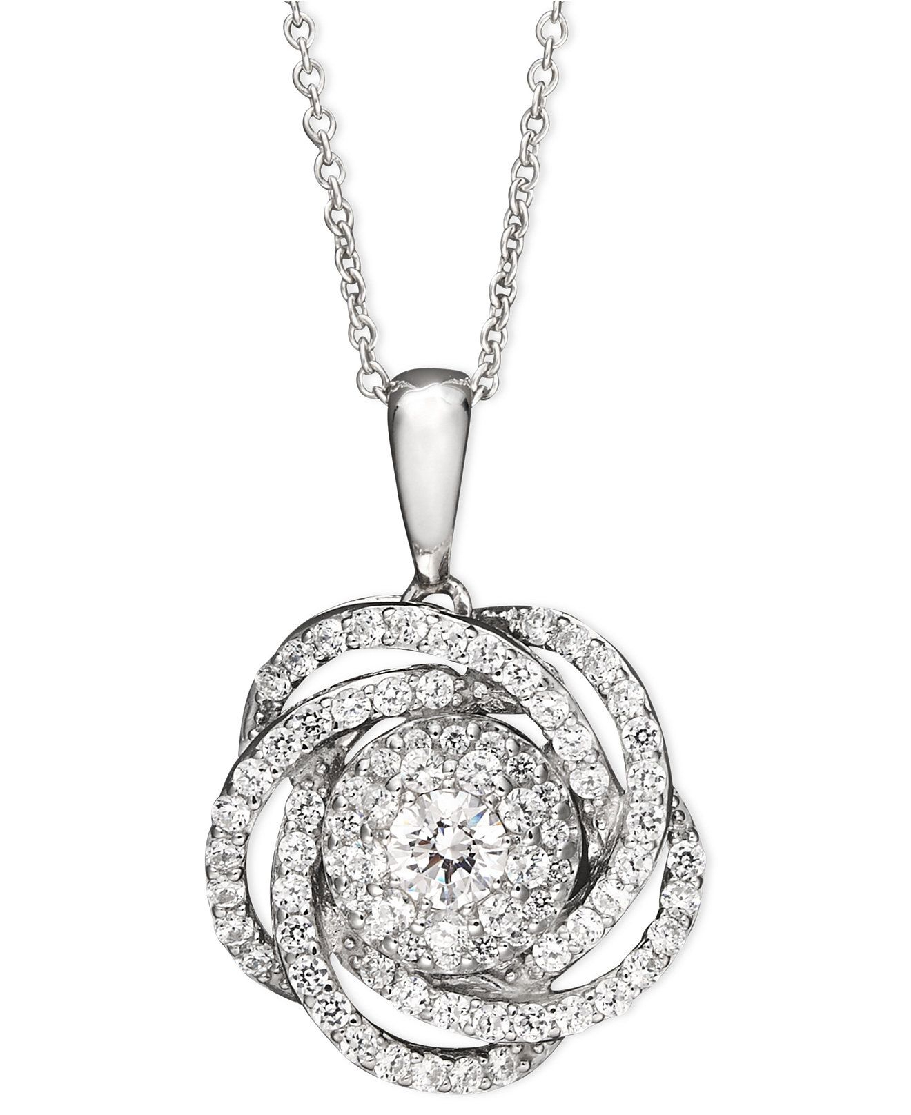 Diamond Knot Pendant Necklace In 14k White Gold (1 Ct. T.w. Regarding 2020 Shimmering Knot Pendant Necklaces (Gallery 3 of 25)