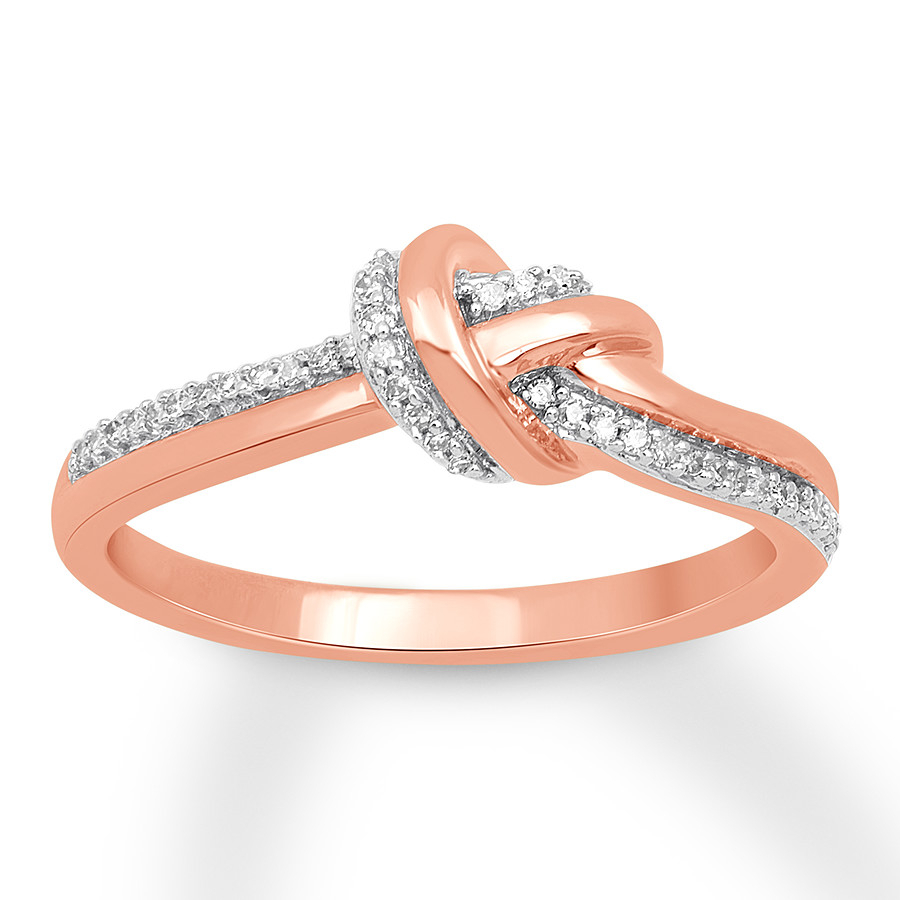 Diamond Knot Ring 1/10 Ct Tw Round Cut 10k Rose Gold – 580335608 – Kay Throughout Most Recent Shimmering Knot Rings (View 5 of 25)