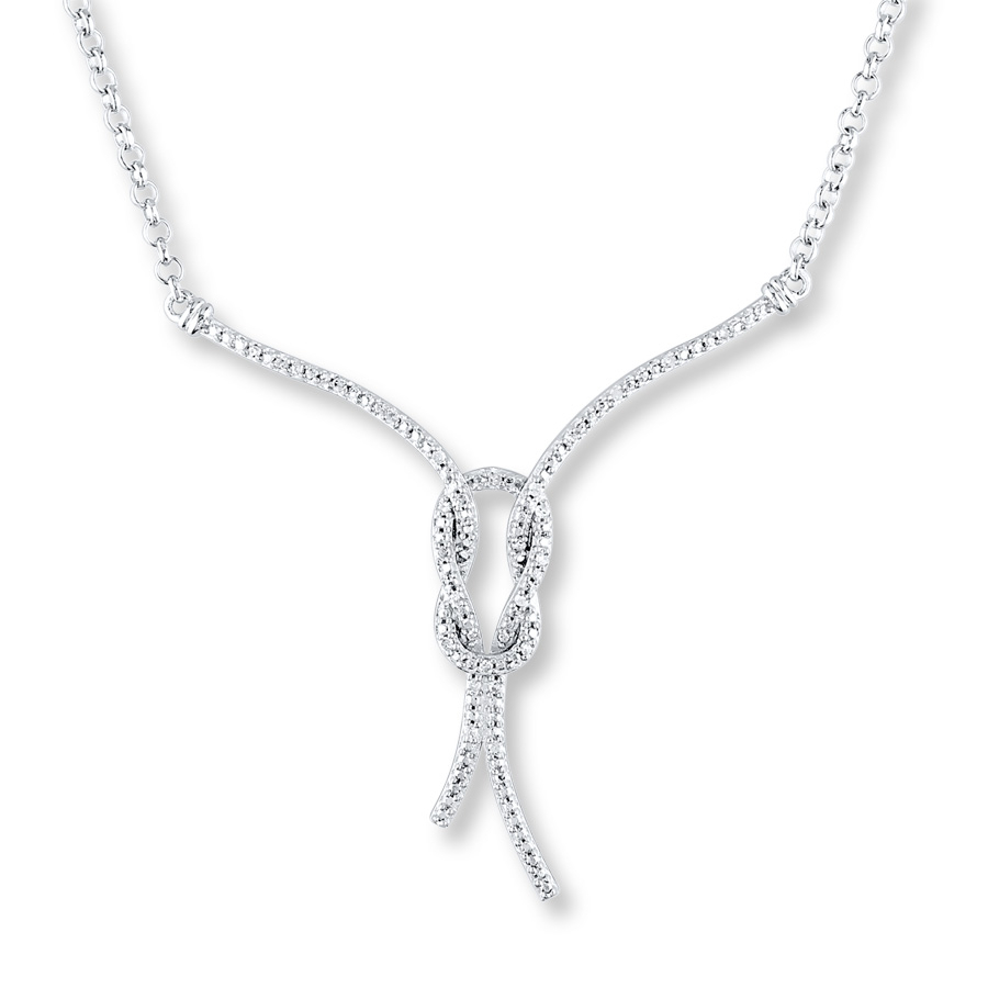 Diamond Love Knot Necklace 1/10 Ct Tw Round Cut Sterling Silver Pertaining To Best And Newest Shimmering Knot Locket Element Necklaces (View 7 of 25)