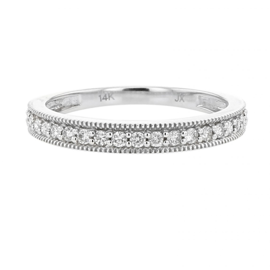 Diamond Milgrain Eternity Band, 14k White Gold, (View 7 of 25)
