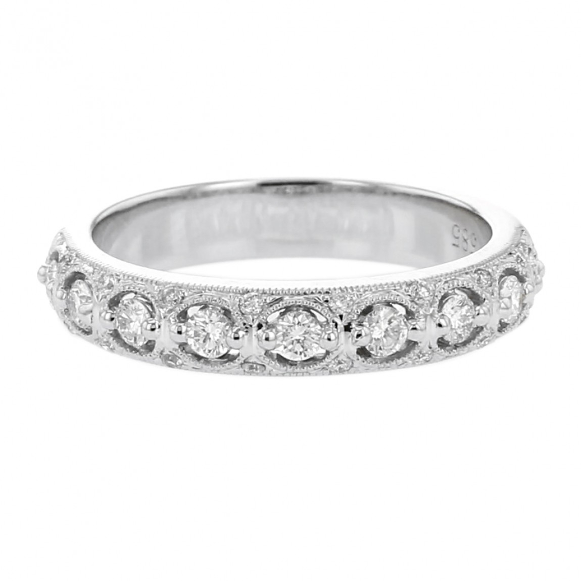 Diamond Milgrain Filigree Wedding Band, 14k White Gold, (View 4 of 25)