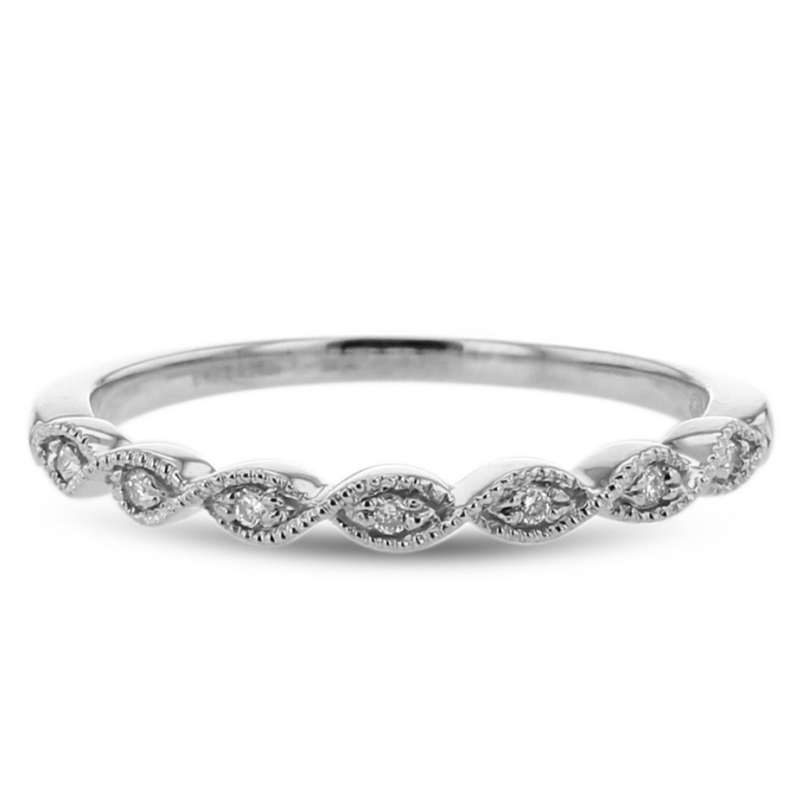 Diamond Milgrain Scroll Wedding Band, 14k White Gold, (View 16 of 25)