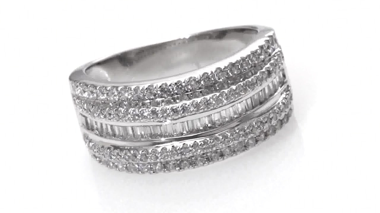 Diamond Multi Row Anniversary Ring In 10K White Gold, Women's, Size:  Regular Zales 3/4 In 2020 Baguette And Round Diamond Multi Row Anniversary Ring In White Gold (View 16 of 25)