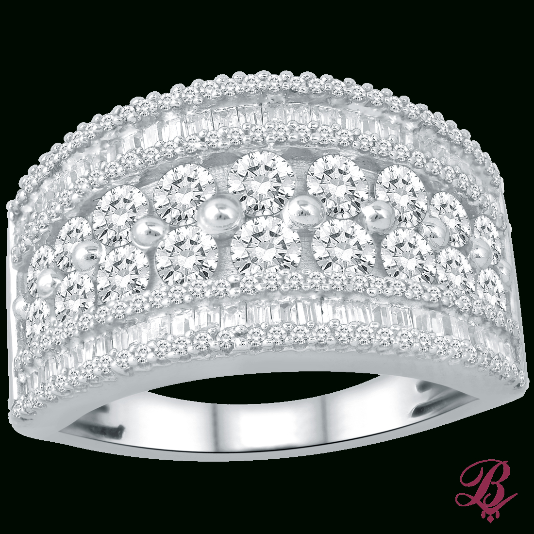 Diamond Multi Row Ring In White Gold – Bombay Jewels In Newest Diamond Multi Row Anniversary Bands In White Gold (View 16 of 25)