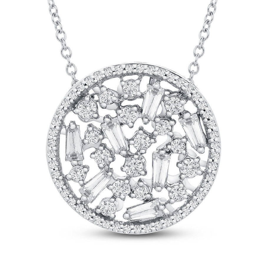 Diamond Necklace 1/2 Ct Tw Round 10k White Gold – 211608904 – Jared Throughout Most Recent Sparkling Pattern Necklaces (View 4 of 25)