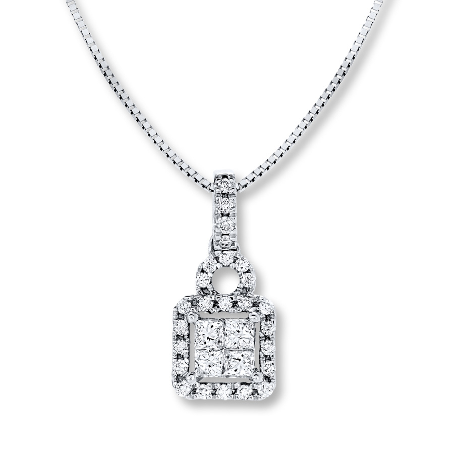 Diamond Necklace 1/4 Ct Tw Princess Cut 10K White Gold Throughout Newest Sparkling Square Halo Pendant Necklaces (Gallery 21 of 25)