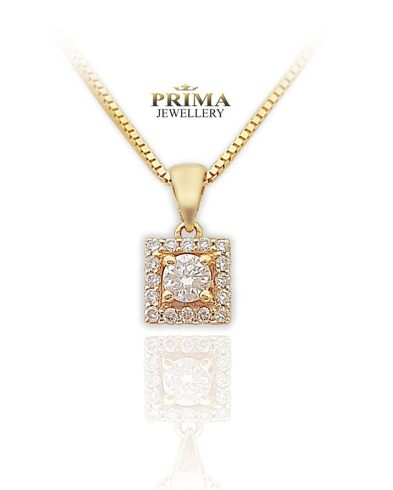 Diamond Necklace,halo Diamond Necklace,diamond Pendant, Gold And Diamond  Necklace,yellow Gold Diamond Necklace,halo Diamond Pendant Pertaining To Most Up To Date Square Sparkle Halo Necklaces (View 9 of 25)