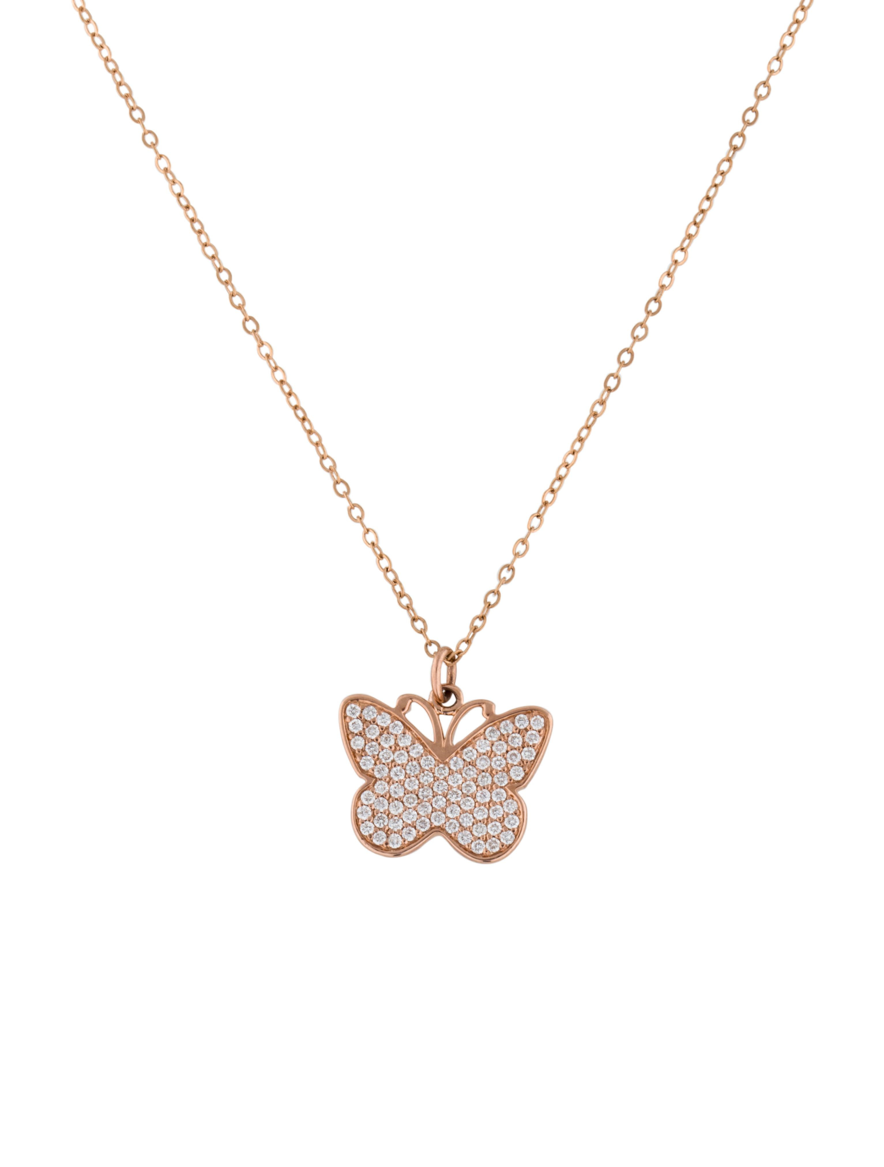 Diamond Pavé Butterfly Pendant Necklace | Prized Papillons Pertaining To Most Recently Released Blue Pavé Butterfly Brooch Necklaces (Gallery 23 of 25)