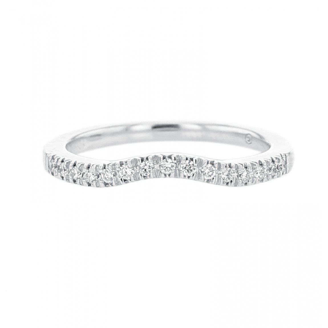 Diamond Pavé Curved Wedding Band 14k White Gold, (View 5 of 25)