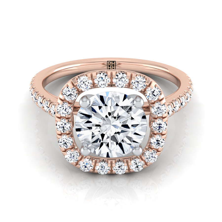 Diamond Pave Halo Frame Engagement Ring In 14K Rose Gold (1/2 Ct.tw (View 13 of 25)