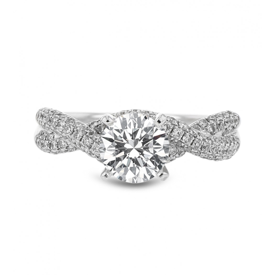Diamond Pavé Twist Engagement Ring Setting, 14k White Gold, (View 11 of 25)