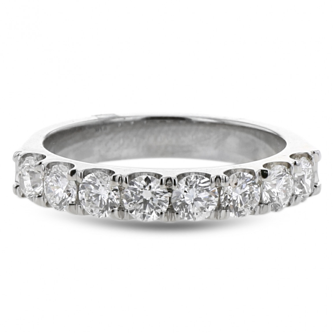 Diamond Pavé Wedding Band, 14k White Gold, (View 13 of 25)