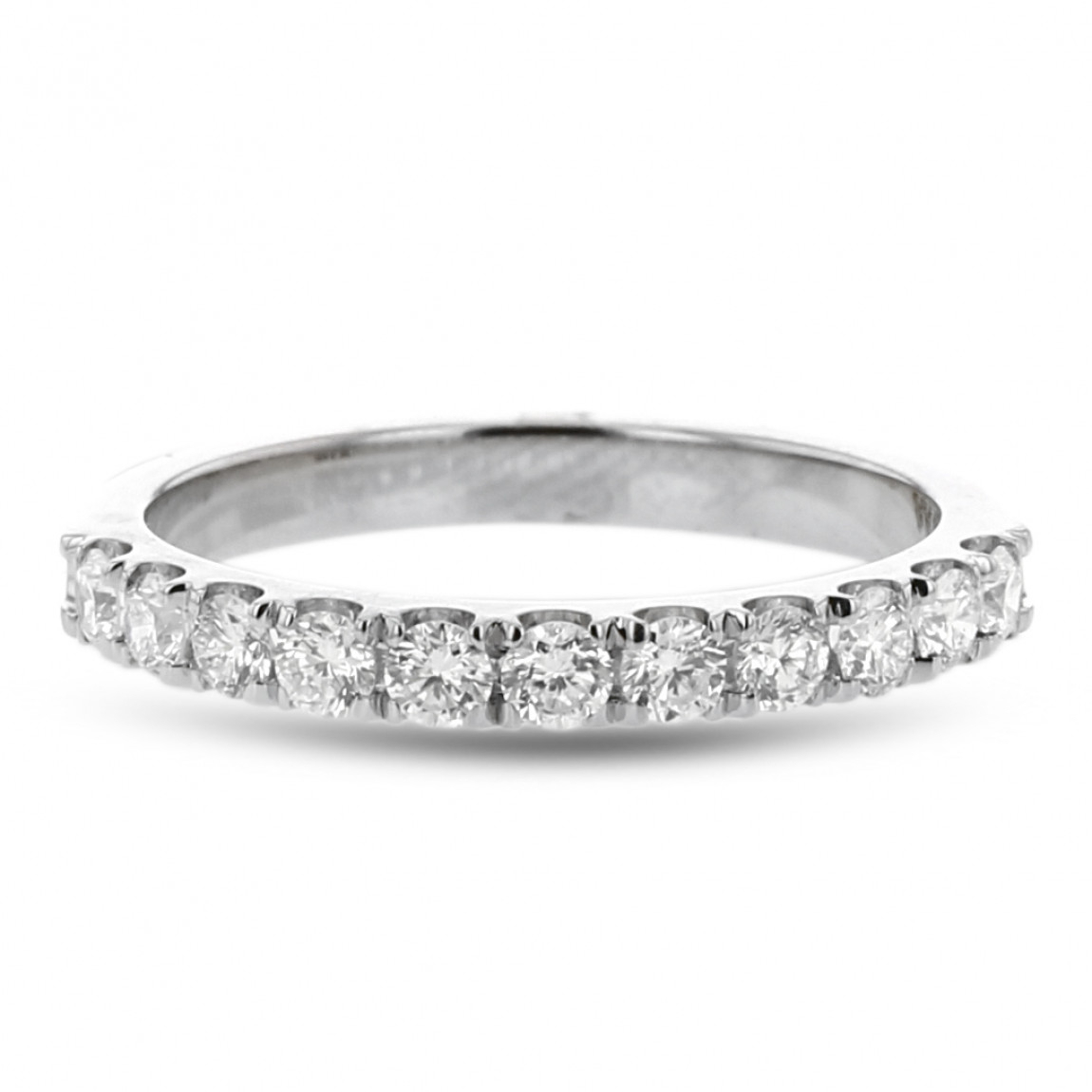 Diamond Pavé Wedding Band, 14k White Gold, (View 5 of 25)