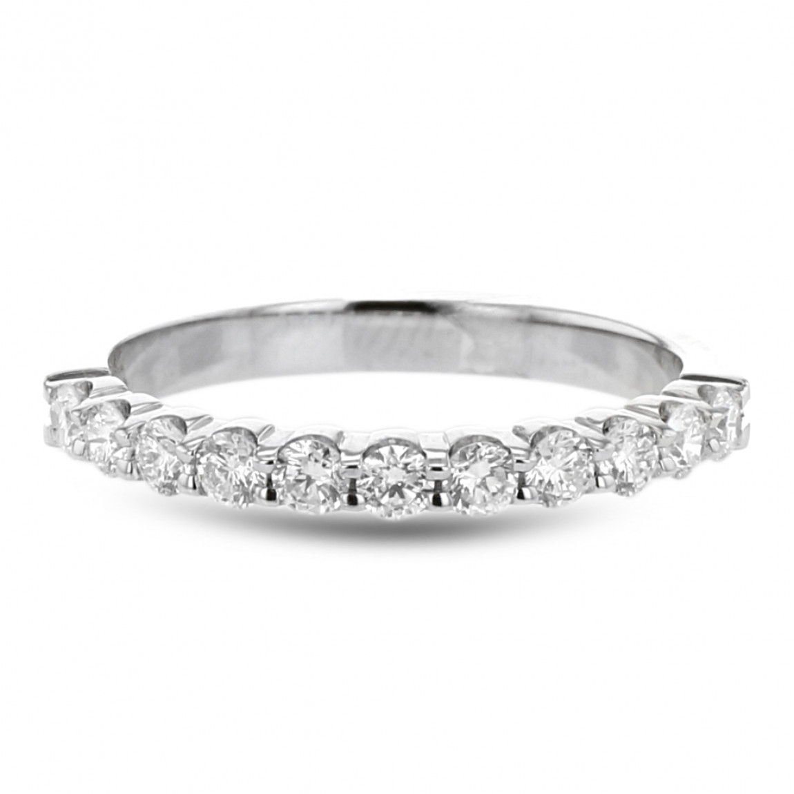 Diamond Pavé Wedding Band, 14k White Gold, (View 9 of 25)
