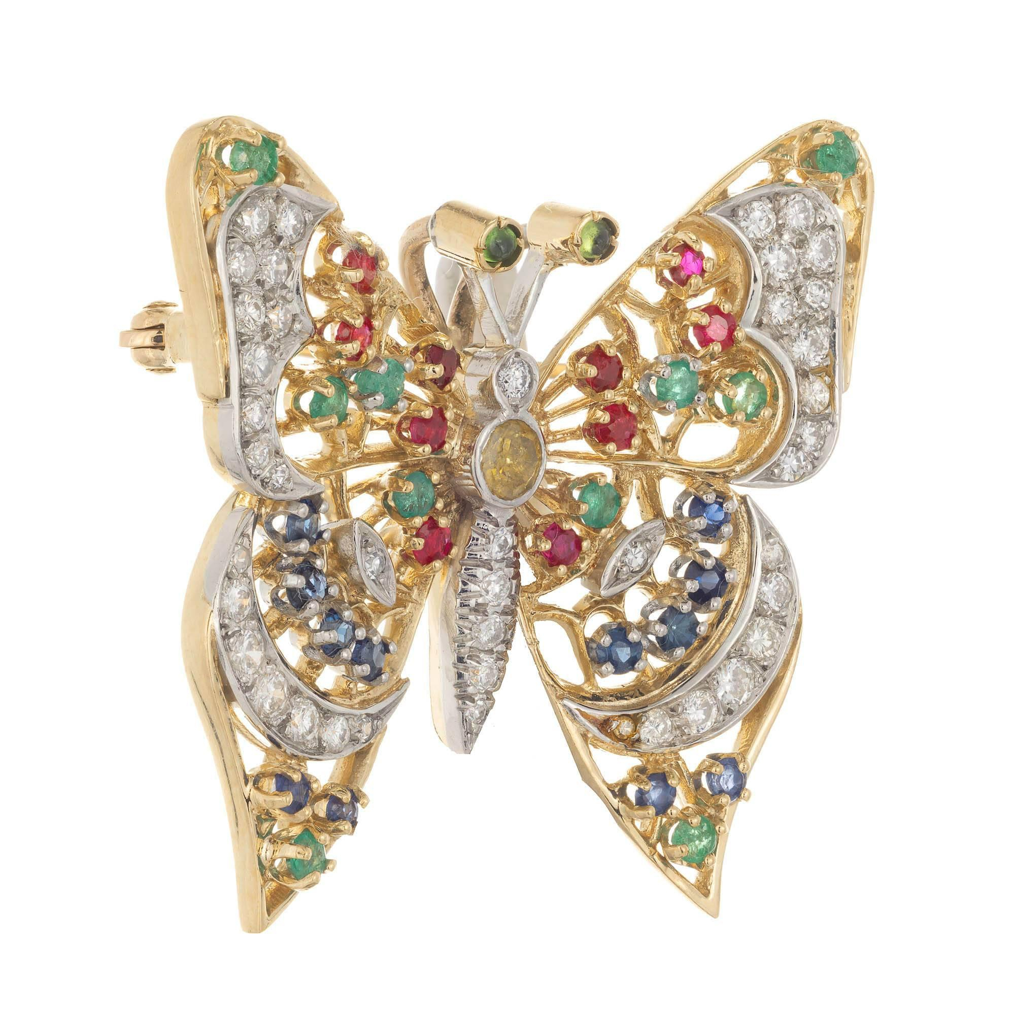Diamond Peridot Emeralds Ruby Sapphire Gold Butterfly Brooch For Latest Blue Pavé Butterfly Brooch Necklaces (View 11 of 25)