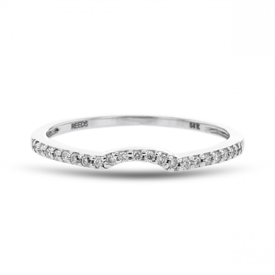 Diamond Petite Pavé Curved Wedding Band, 14k White Gold, (View 7 of 25)