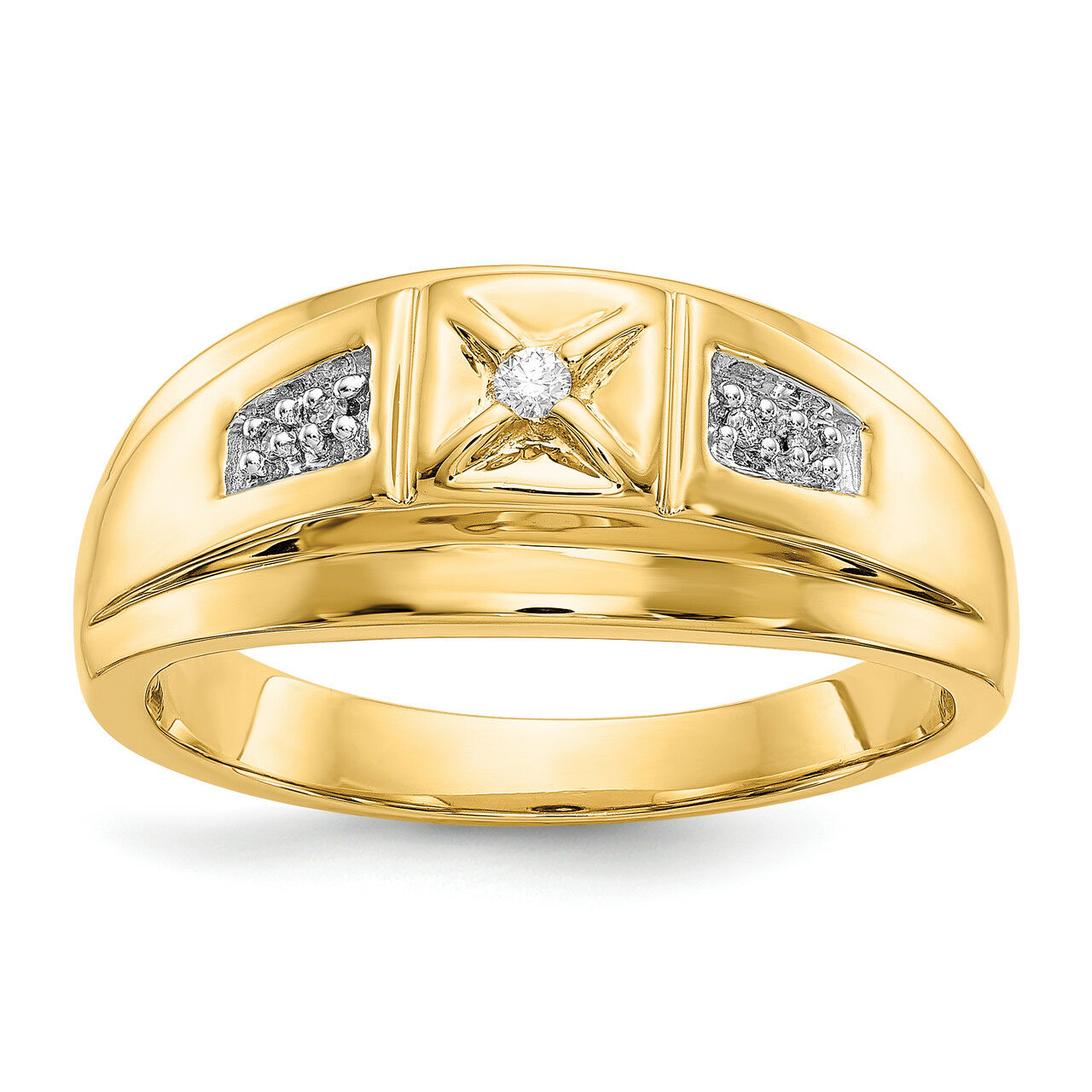 Diamond Rhodium & Gold Yellow 14K Lu & Lex Mens 10 Size Ring With Best And Newest Diamond Bold Five Stone Anniversary Bands In White Gold (View 11 of 25)