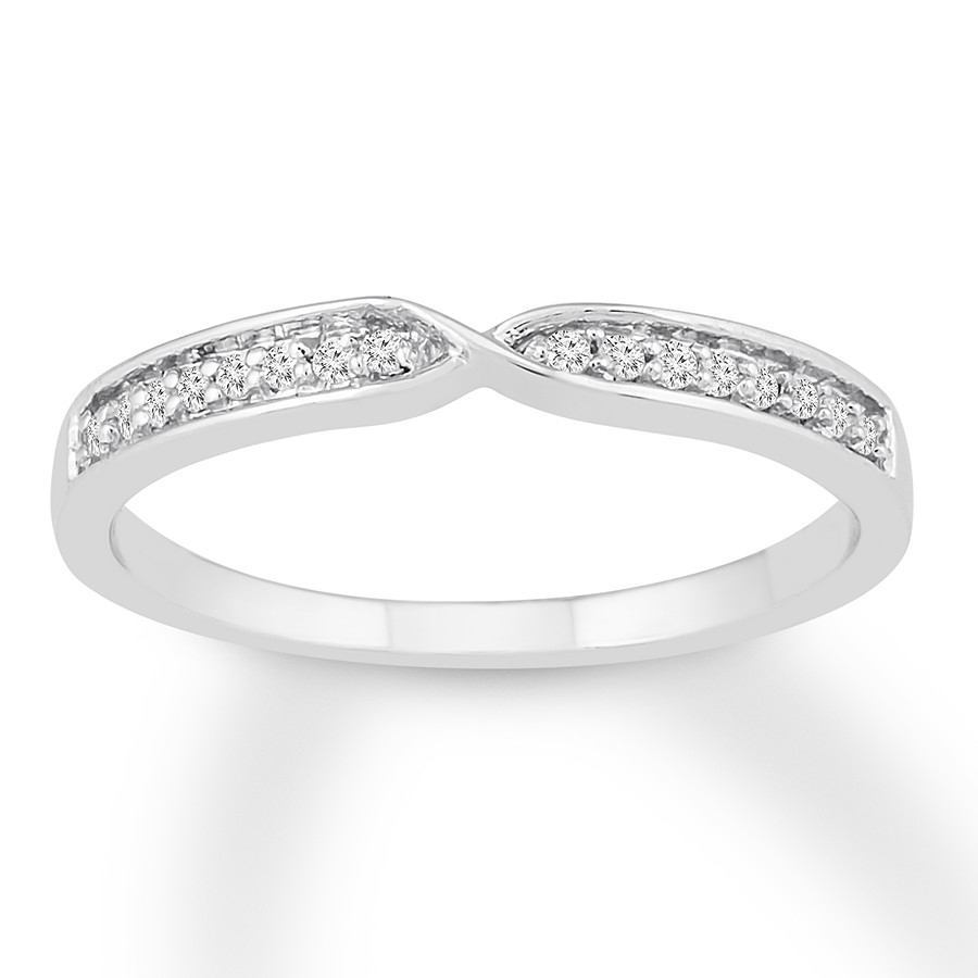 Diamond Ring 1/10 Ct Tw Round Cut 10k White Gold With Most Up To Date Sparkling Twisted Lines Rings (View 7 of 25)