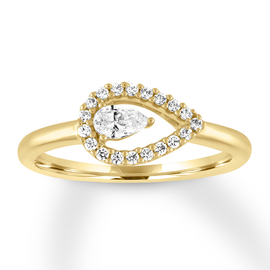 Diamond Ring 1/3 Ct Tw Pear Shaped/round 10K Yellow Gold With Most Recent Sparkling Teardrop Halo Rings (View 2 of 25)