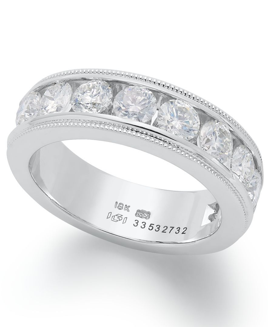 Diamond Ring, 18K White Gold Certified Diamond Milgrain In Latest Certified Diamond Anniversary Bands In Gold (Gallery 21 of 25)
