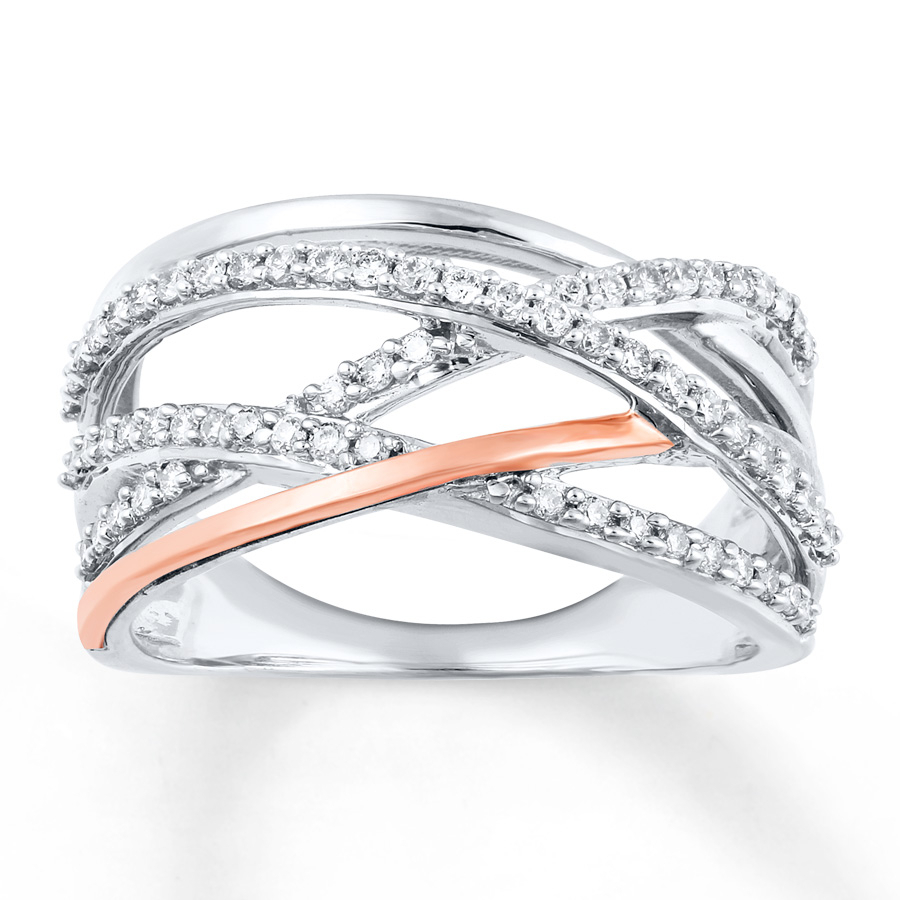 Diamond Ring 3/8 Ct Tw Round Cut Sterling Silver/10K Rose Gold Inside Most Up To Date Sparkling & Polished Lines Rings (View 5 of 25)