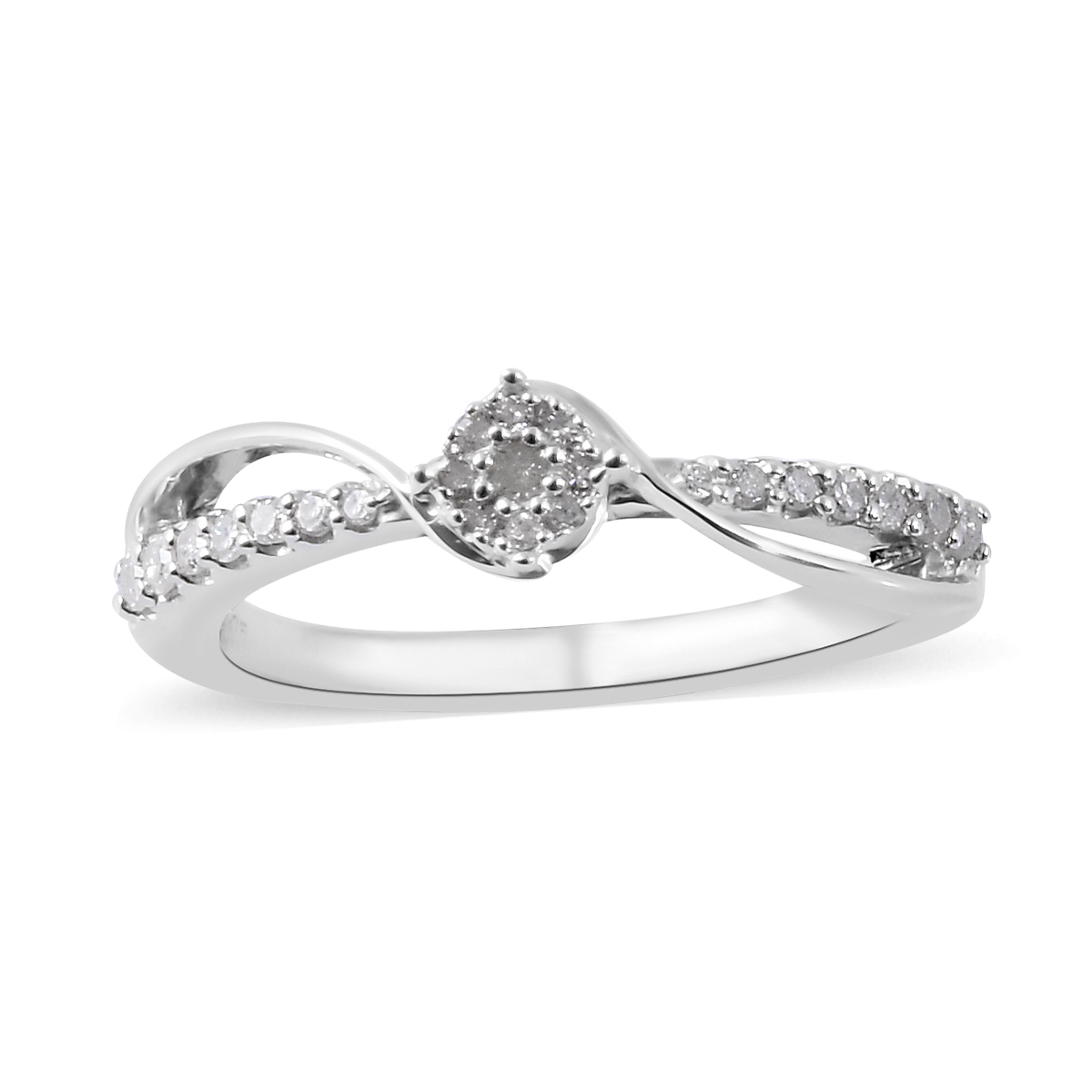 Diamond Ring In Platinum Over Sterling Silver (Size 8.0)  (View 8 of 25)
