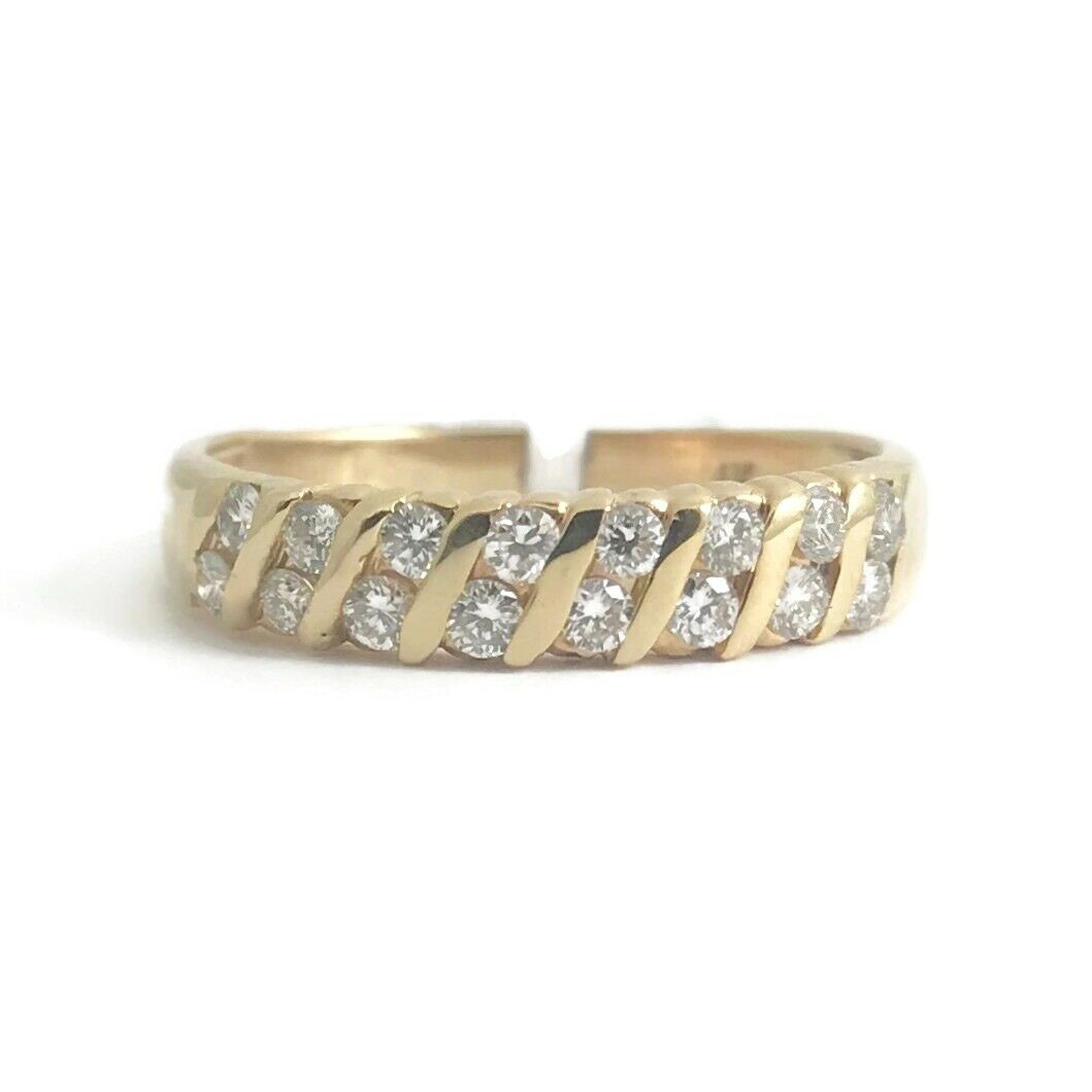 Diamond Slant Channel Statement Band Ring 14K Yellow Gold In Latest Diamond Slant Anniversary Bands In White Gold (Gallery 8 of 25)