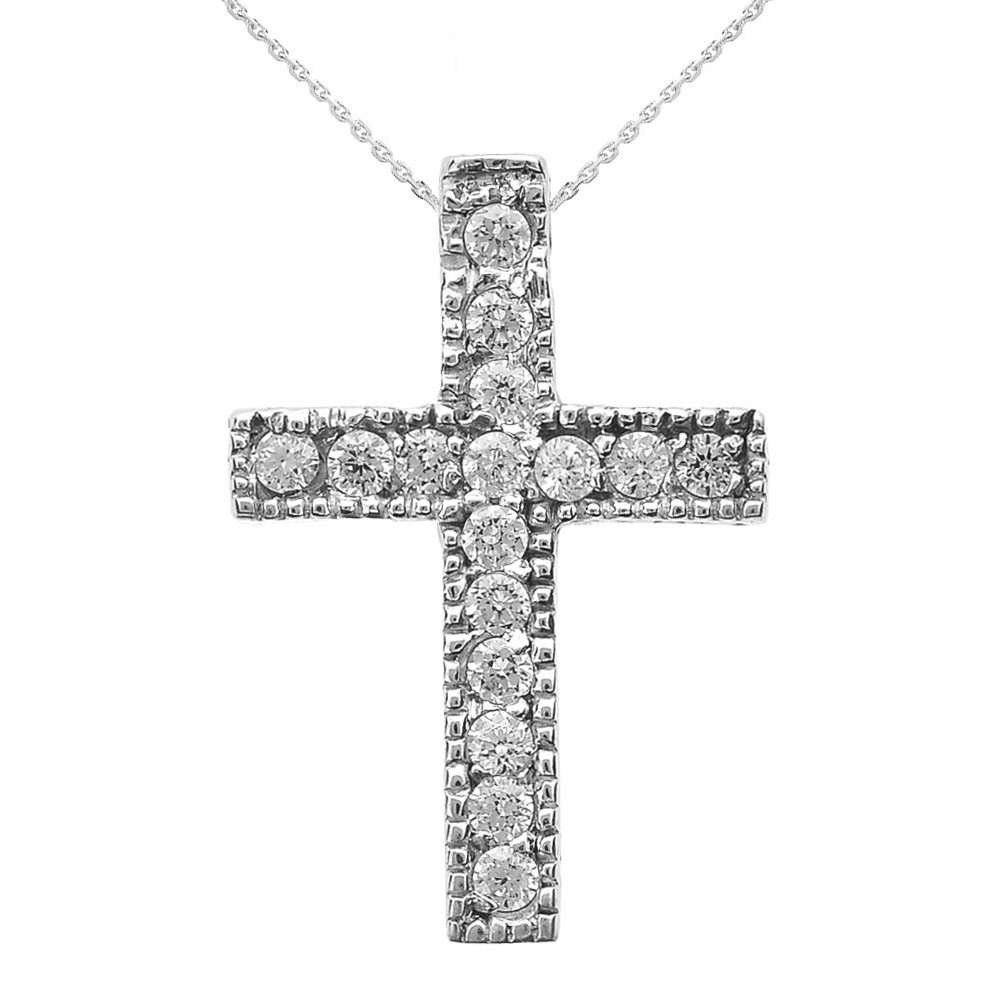 Diamond Small Milgrain Edged Cross Pendant Necklace In Sterling Silver Throughout Recent Sparkling Cross Pendant Necklaces (View 17 of 25)
