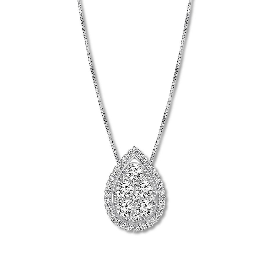 Diamond Teardrop Necklace 1/2 Ct Tw Round Cut 14K White Gold With Most Up To Date Pavé Star Locket Element Necklaces (View 6 of 25)