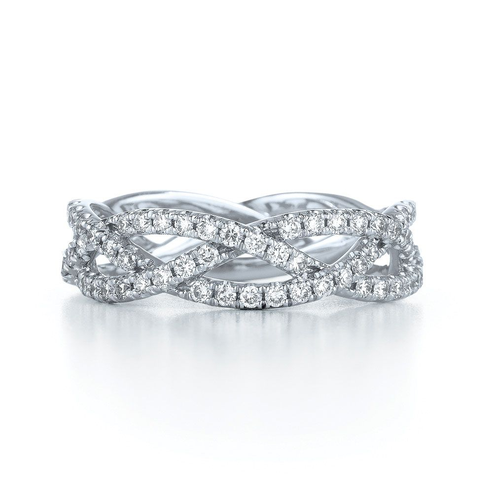 Diamond Three Row Ring In 18k White Gold (View 8 of 25)