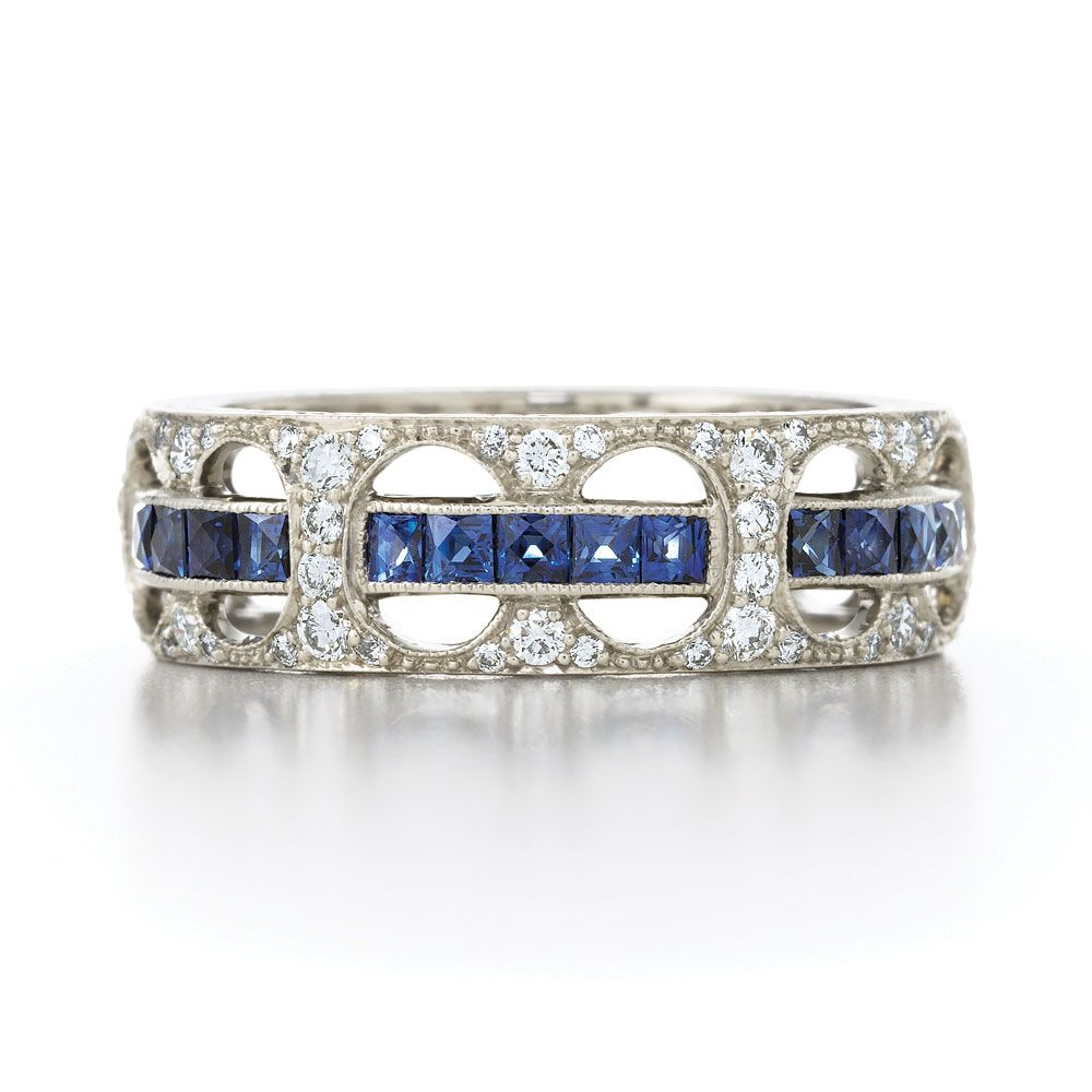 Diamond Three Row Ring In 18K White Gold. Also Available In Within Best And Newest Diamond Vintage Style Three Row Anniversary Bands In White Gold (Gallery 8 of 25)
