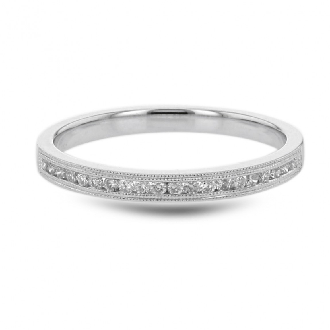 Diamond Wedding Anniversary Band, Milgrain Channel Ring, 14k White Gold, (View 17 of 25)