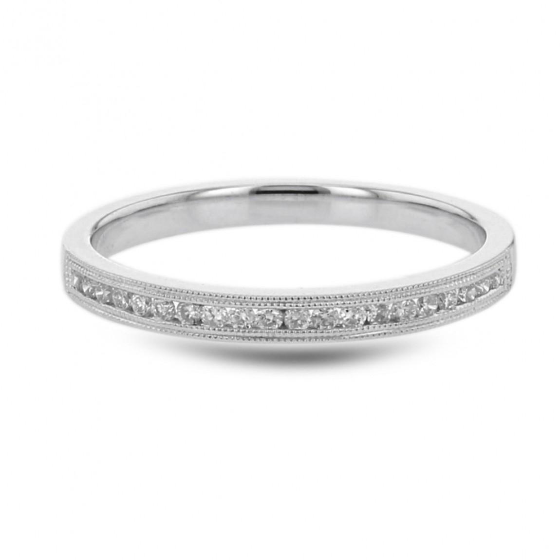 Diamond Wedding Anniversary Band, Milgrain Channel Ring, 14k White Gold, (View 3 of 25)