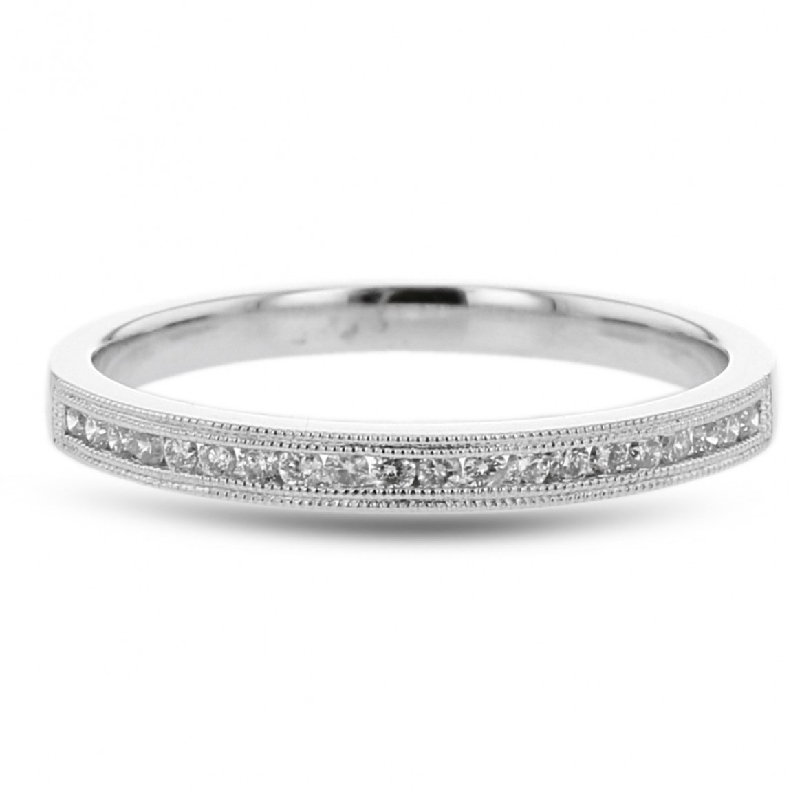 Diamond Wedding Anniversary Band, Milgrain Channel Ring, 14K White Gold,  .14Ctw Within Most Up To Date Diamond Milgrain Anniversary Bands In White Gold (Gallery 21 of 25)