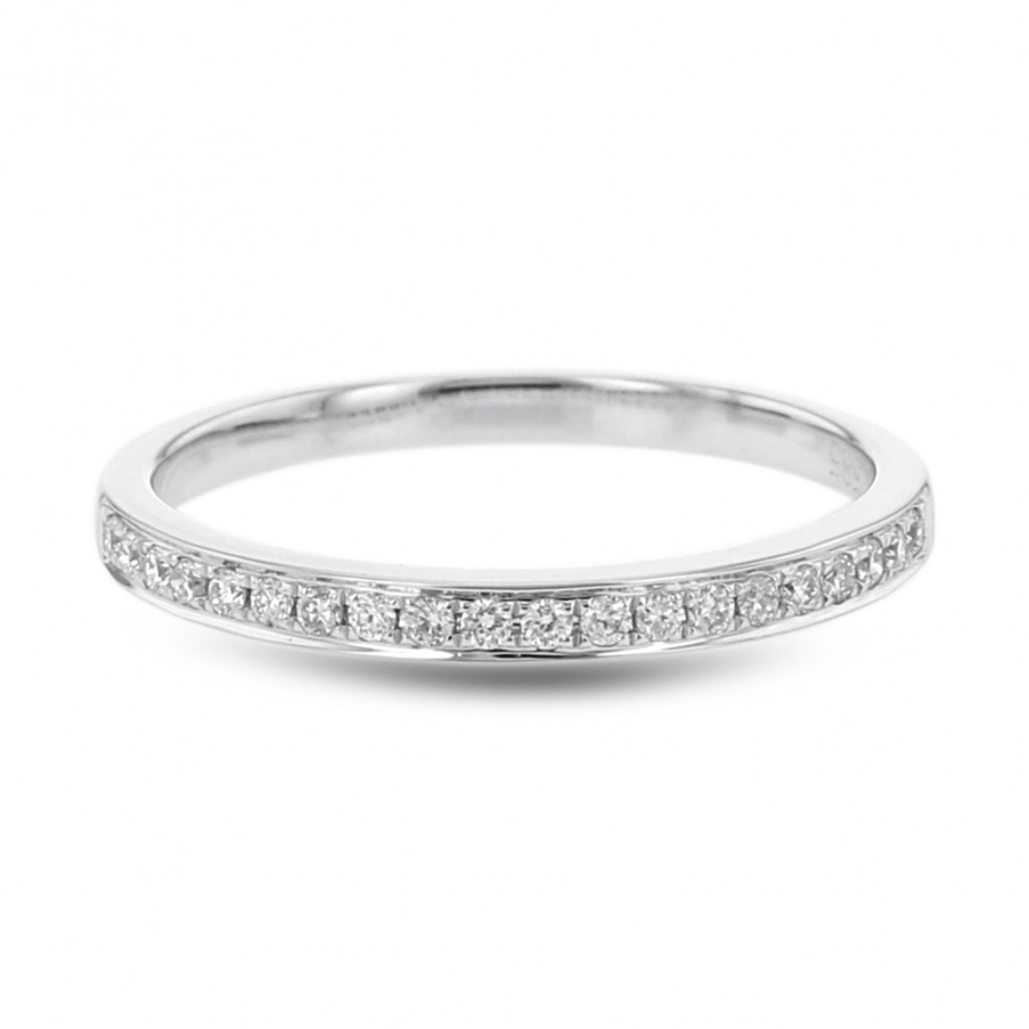 Diamond Wedding Anniversary Band, Pave Half Eternity Ring, 14K White Gold,   (View 15 of 25)