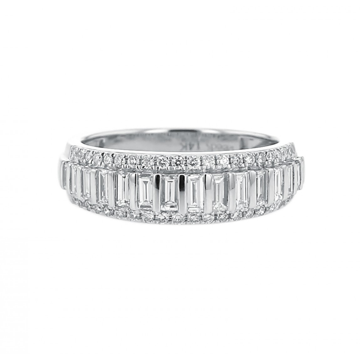 Diamond Wedding Band Ring, Baguette And Round, 14K Gold, .79Ct With Regard To Most Recently Released Round And Baguette Diamond Anniversary Bands In White Gold (Gallery 6 of 25)