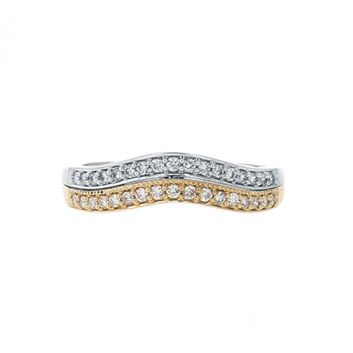 Diamond Wedding Band Ring, Two Row Curved, 14k Two Tone Gold, (View 17 of 25)