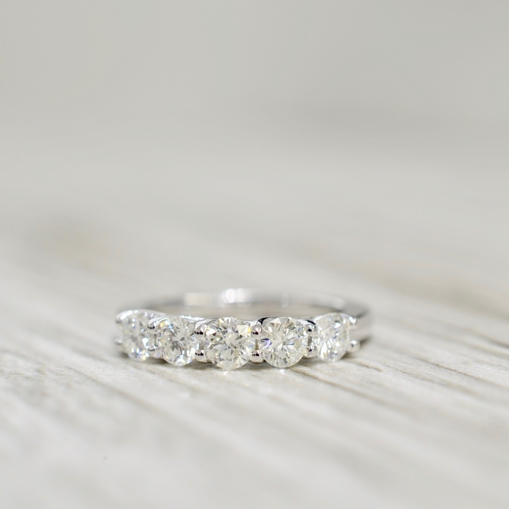 Diamond Wedding Bands Pertaining To 2019 Diamond Five Stone Bar Set Anniversary Bands In White Gold (View 12 of 25)