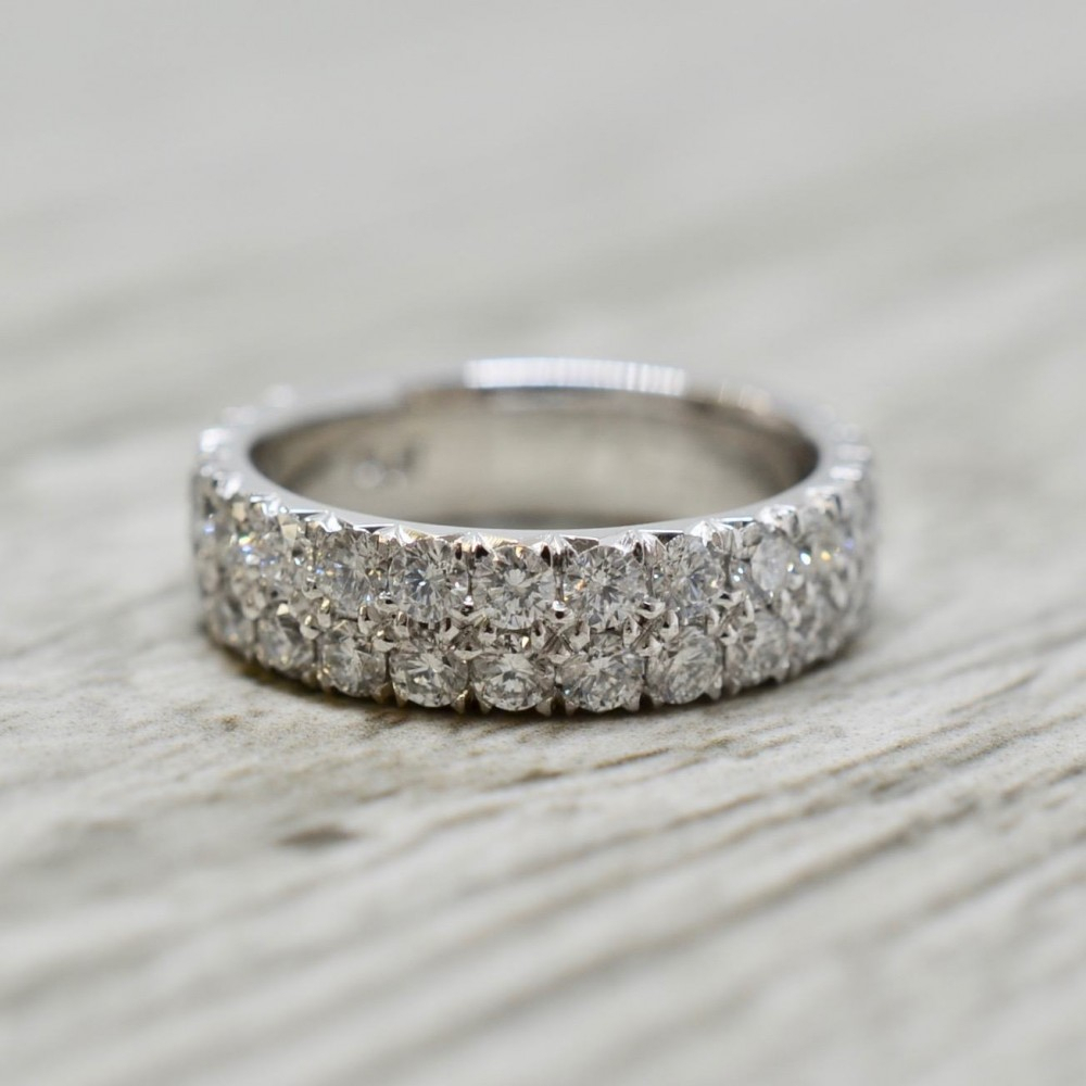 Diamond Wedding Bands With Regard To Most Current Diamond Vintage Style Three Row Anniversary Bands In Gold (View 14 of 25)