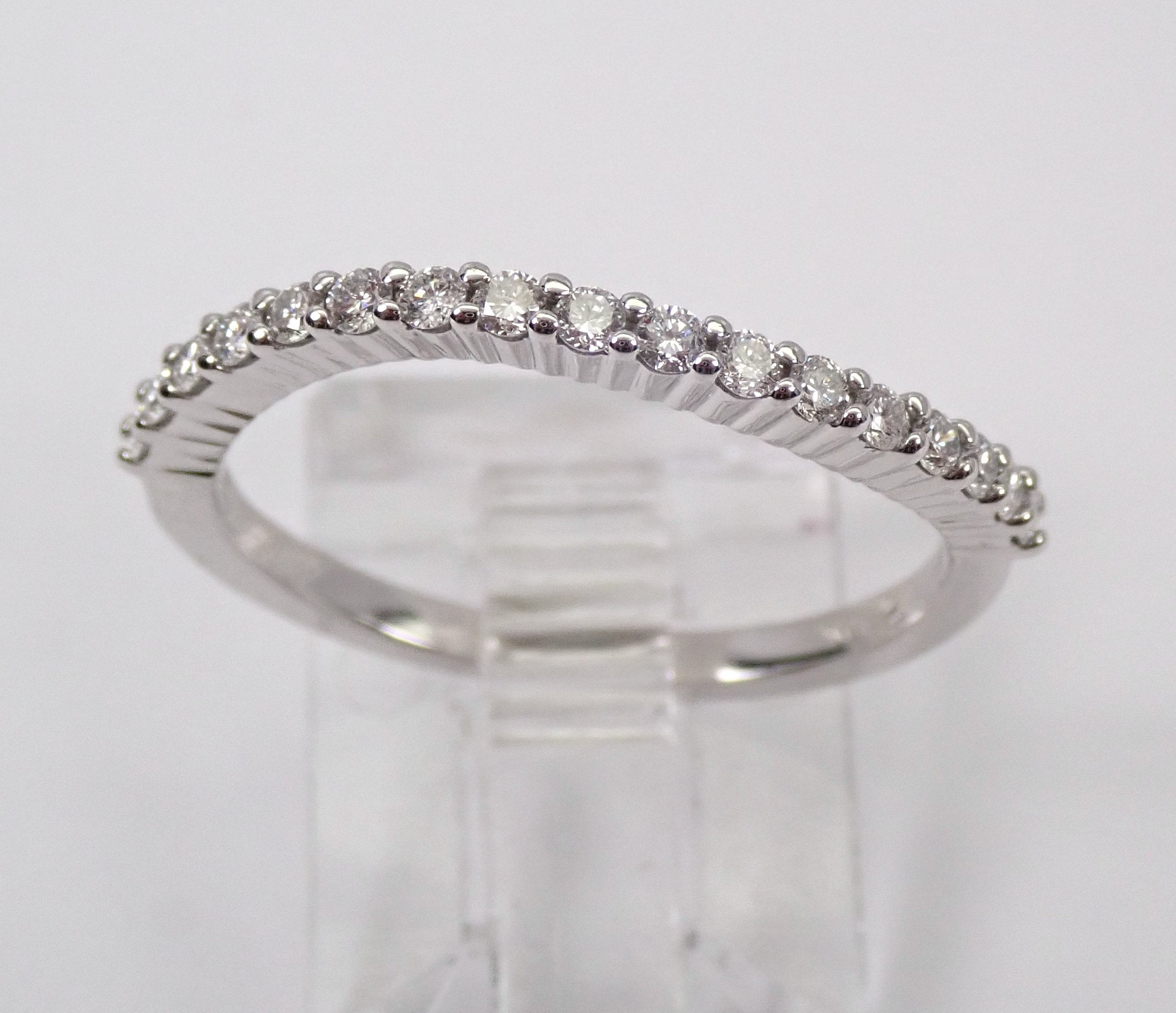 Diamond Wedding Ring Curved Contour Anniversary Band White Gold Size  (View 12 of 25)